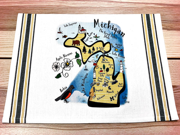 Michigan State Map Kitchen/Tea Towel
