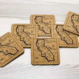 California Map Cork Coasters