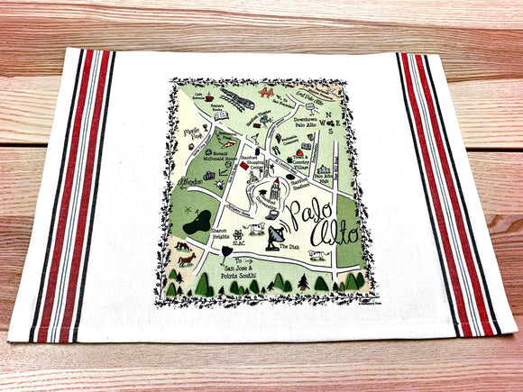Palo Alto Map Kitchen/Tea Towel