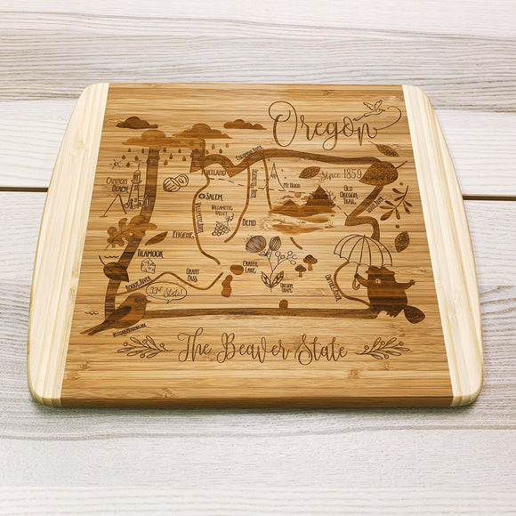 Oregon State Map Small Bamboo Cheese Board