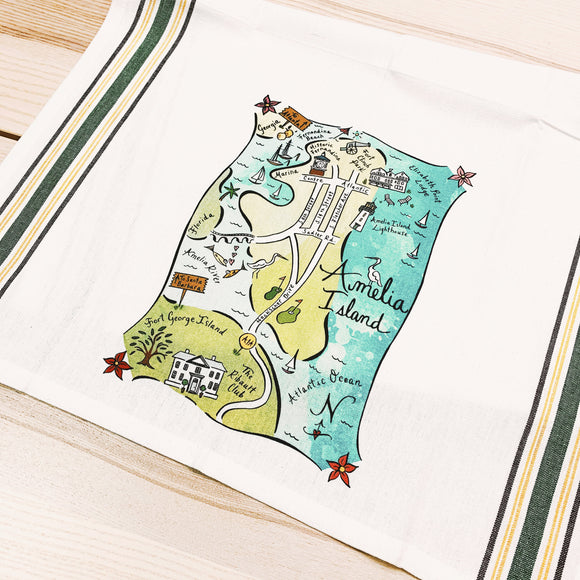 Amelia Island Map Kitchen/Tea Towel