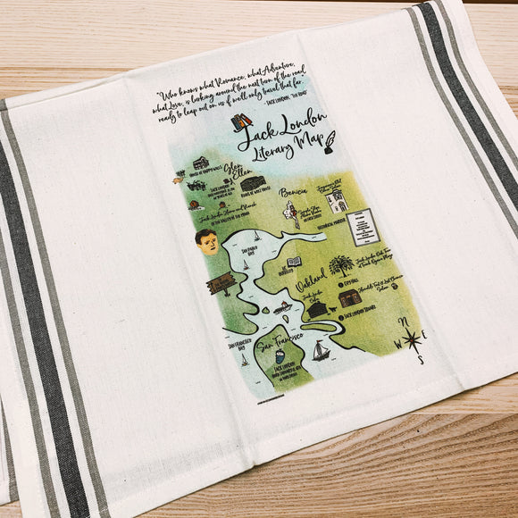 Jack London Literary Map Kitchen/Tea Towel