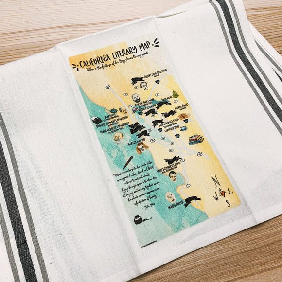California Literary Map Kitchen/Tea Towel