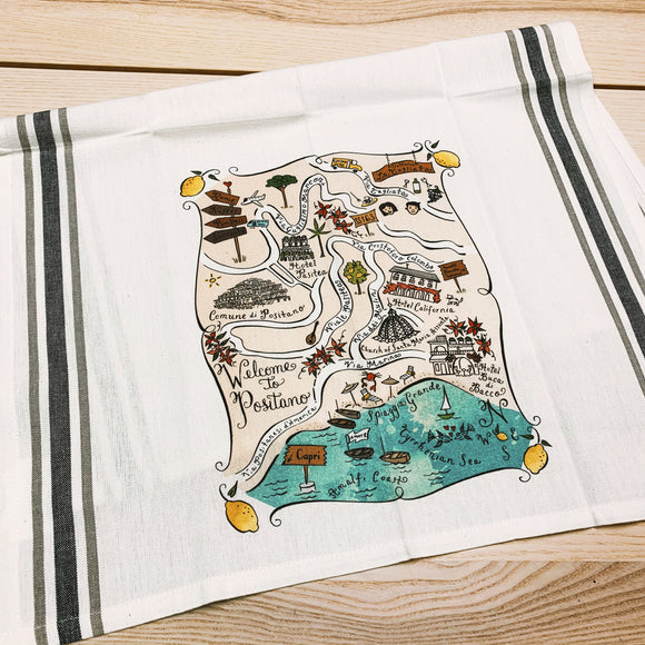 Positano Map Kitchen/Tea Towel