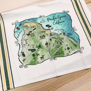 Pacific Grove Map Kitchen/Tea Towel