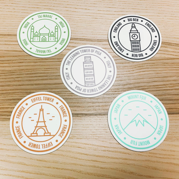 World Icons Vinyl Sticker Set