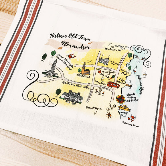 Alexandria, VA Map Kitchen/Tea Towel