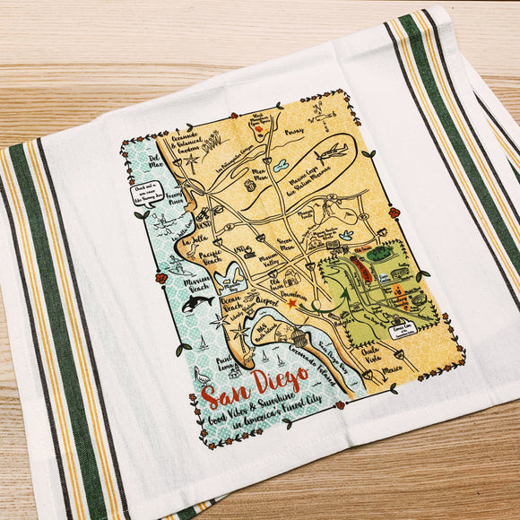 San Diego Map Kitchen/Tea Towel