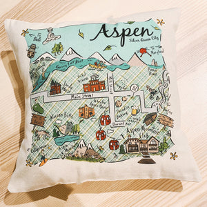Aspen Map Square Pillow