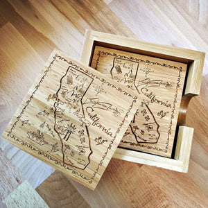 California Map Design Bamboo Coaster Set