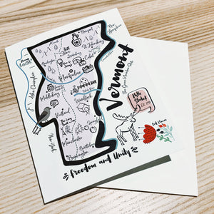 Vermont Map Note Card