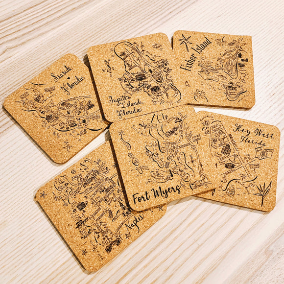 Florida Mix Cork Coaster Set