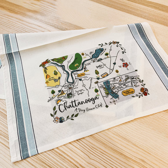 Chattanooga Map Kitchen/Tea Towel