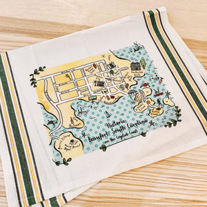 Beaufort, SC Map Kitchen/Tea Towel