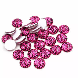 Hot Pink Leopard-12mm Glass Cabochon