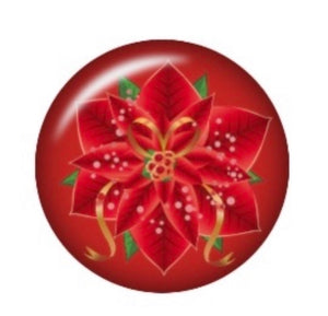 Poinsettia -12mm Glass Cabochon