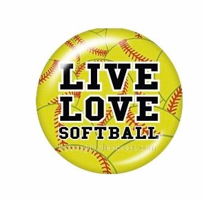 Live Love Softball Glass Cabochon