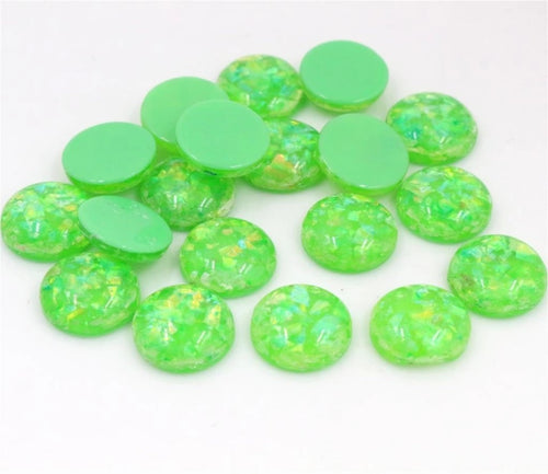 Green with gold Flakes-12mm Cabochon