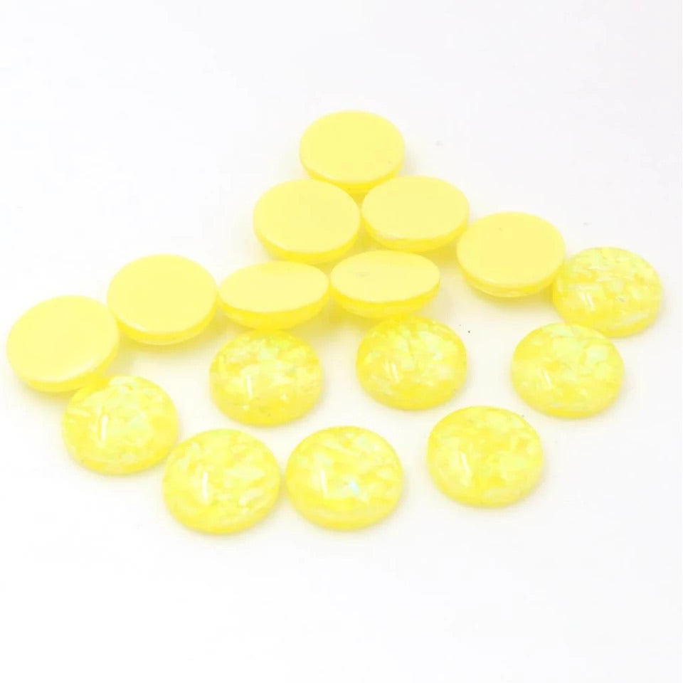 Sunshine Yellow Tinsel-12mm Cabochon