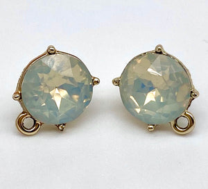 White Gem Stud Earring With Loop
