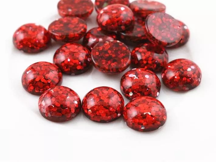 Red Glitter-12mm Cabochon
