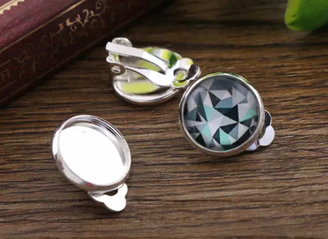 Clip On Earring-12mm Cabochon Base