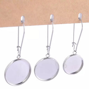 Wire Dangle Stainless Steel Earring Base (Pair)