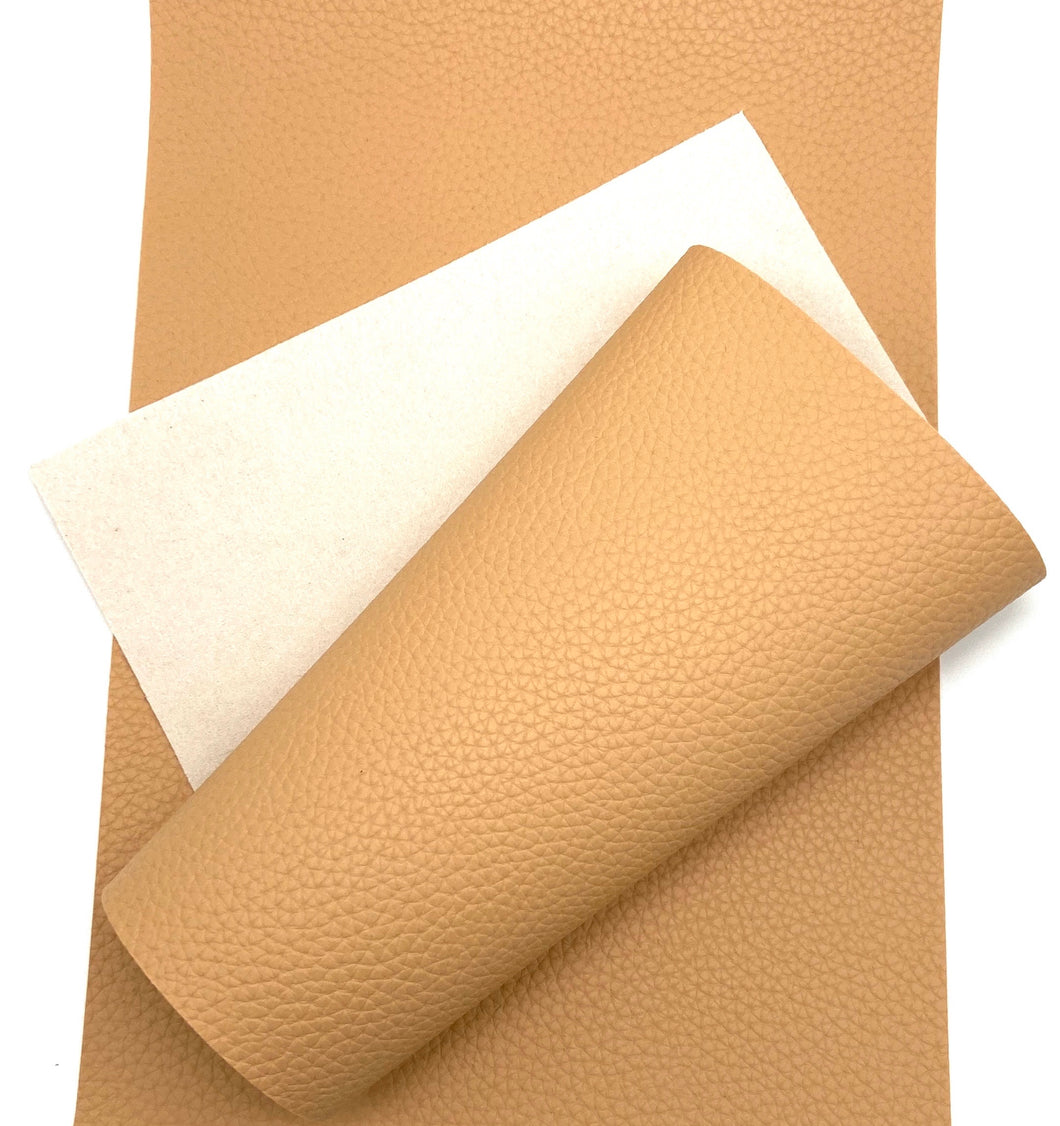 Tan Solid Pebbled Faux Leather