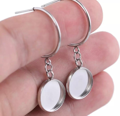 Rounded Dangle-12mm Cabochon Base (Pair)