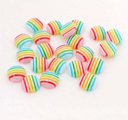 Pastel Rainbow Stripes Glass Cabochon