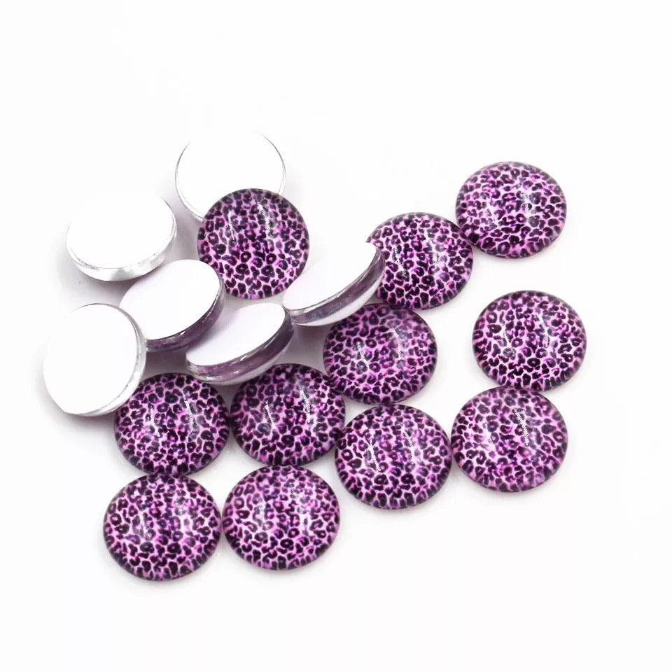 Purple Leopard-12mm Glass Cabochon