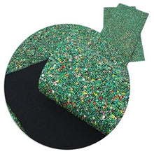 Green Confetti Mix Chunky Glitter Canvas