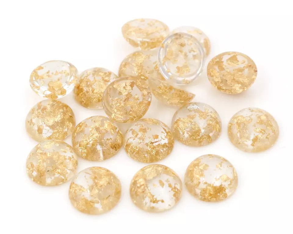 Golden Riches-12mm Flakes Cabochon
