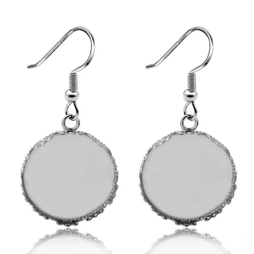 Crown Dangle Stainless Steel Earring Base (Pair)