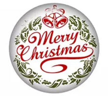 Merry Bell Christmas -12mm Glass Cabochon