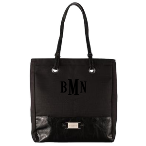 "3 Letter Embroidered Monogram- Black LINEN LOOK TOTE BAG W/""BLESSED"" BADGE"