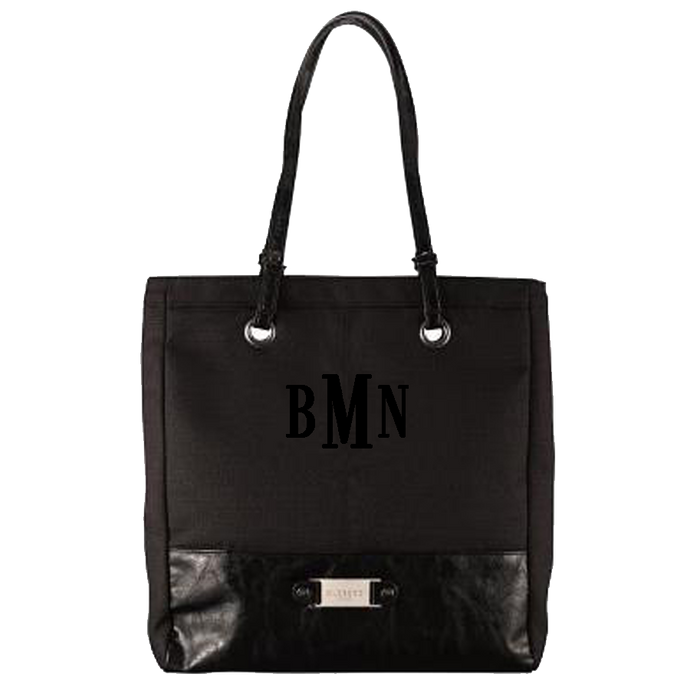 3 Letter Embroidered Monogram- Black LINEN LOOK TOTE BAG W/