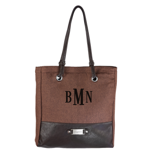 "3 Letter Embroidered Monogram- BROWN LINEN LOOK TOTE BAG W/""REDEEMED"" BADGE"