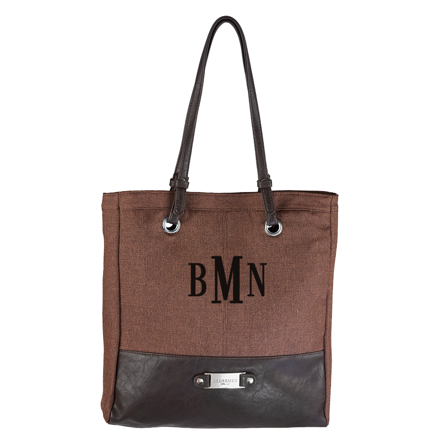 3 Letter Embroidered Monogram- BROWN LINEN LOOK TOTE BAG W/