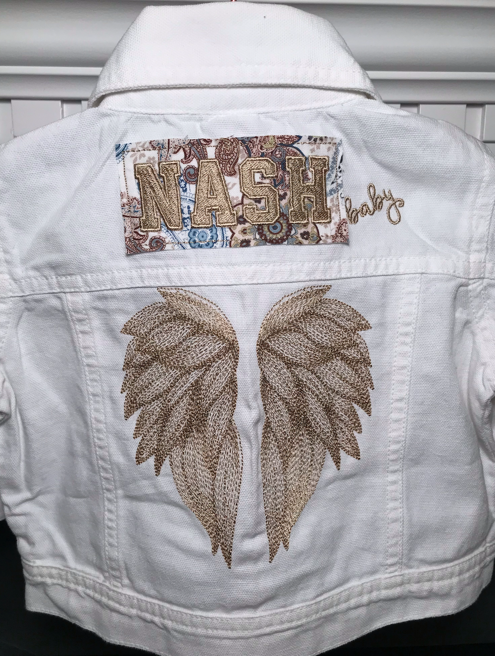 NASH Baby- White Denim Jacket- Angel Wings