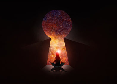 Woman meditating in front of a keyhole galaxy