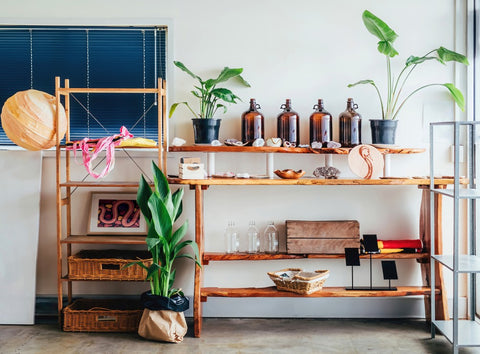 Shelfs in a home decorated with plants, healing crystals, and glass bottles