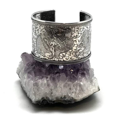 Large Silver Cuff set on a large amethyst stone