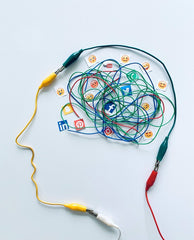 outline of head and brain made out of wire