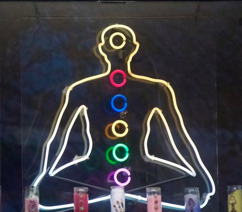 Chakras human outline sitting criss cross with colored circle going down the middle
