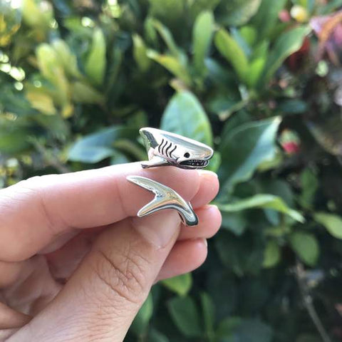 Great White Shark wrap around ring on a finger