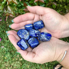 Blue laps lazuli pebbles in palm of hands