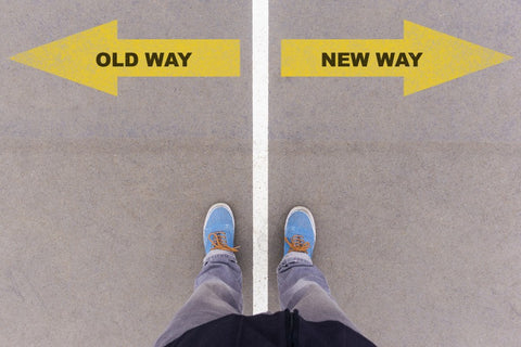 """""""Old Way"""" arrow point left """"New Way"""" arrow pointing right"""