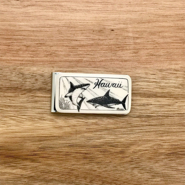 Scrimshaw Style Wide Money Clip with 2 shark detail designed by artist Linda Layden