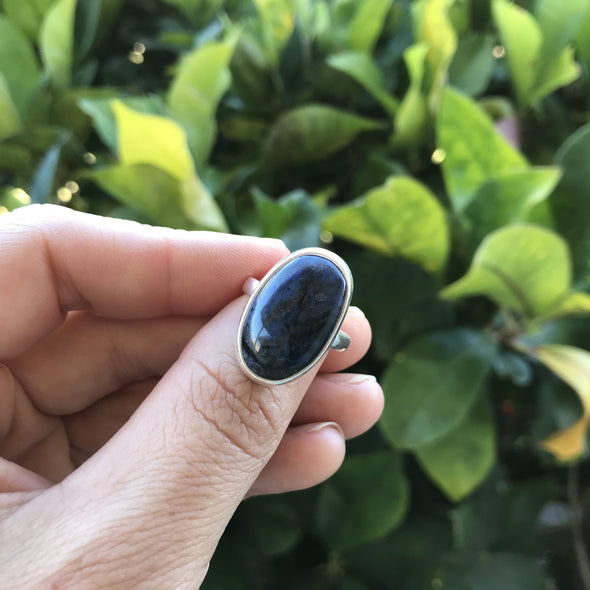 Dumortierite sterling silver ring